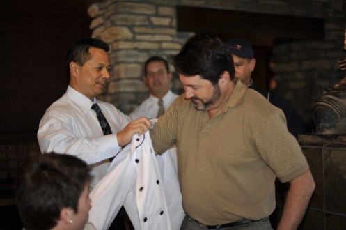 James was so thoughtful and generous to order a special chef's jacket for Steve.