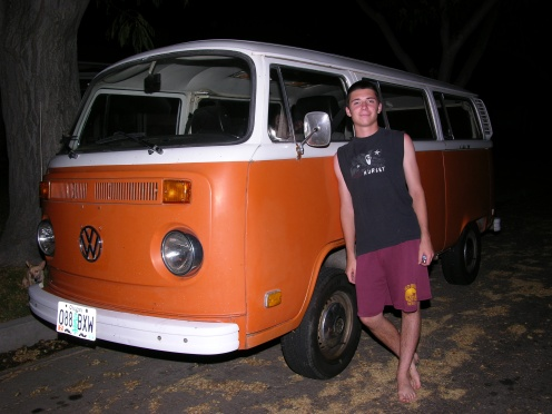 Tyler - the first day he owned his VW Bus 2 Sept. 2007