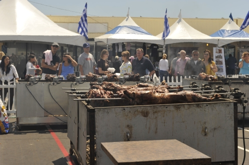 The lragrance of the lamb, chicken and pork that were cooking on the barbeques filled the air for blocks around St. George's Church.